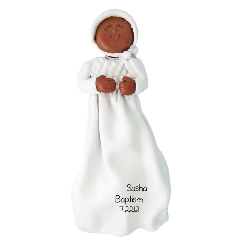 Baby Girl Christening Favors Glass Ornament: Baptism Ornament African American Baby Girl In Dress