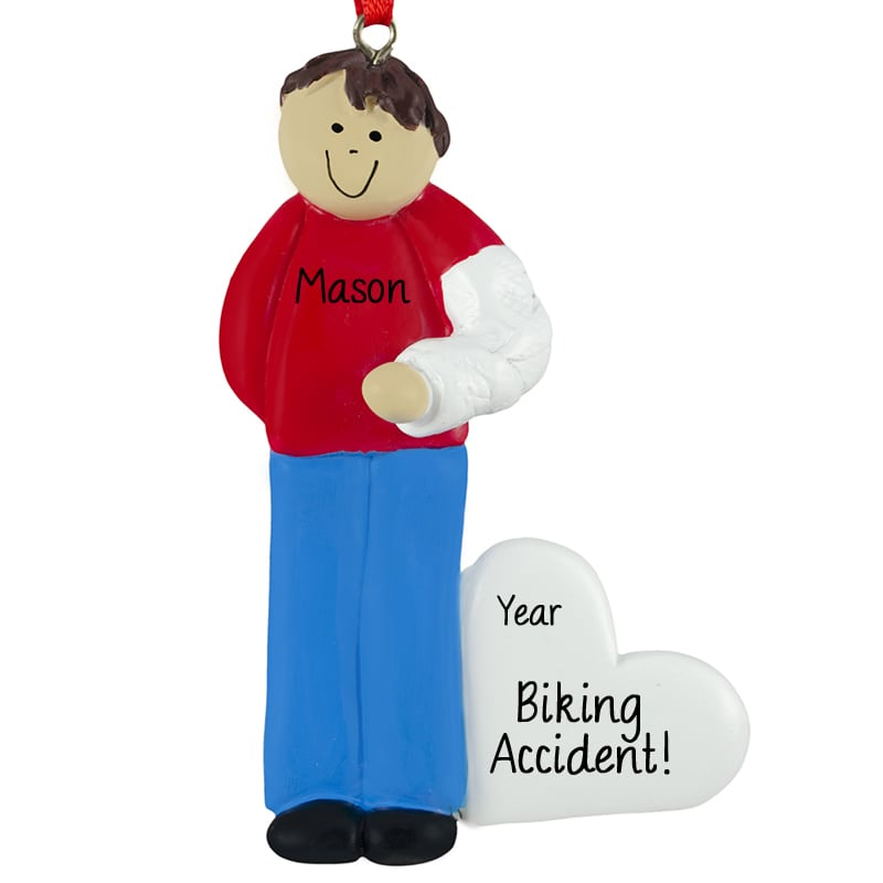 Broken Arm In Cast Christmas Ornament ... - Broken Arm In Cast Christmas Ornament MALE BROWN Hair Personalized