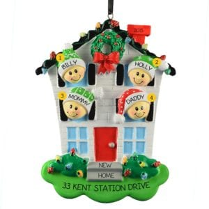 Personalized New Home Family Of 4 Christmas Lights Ornament