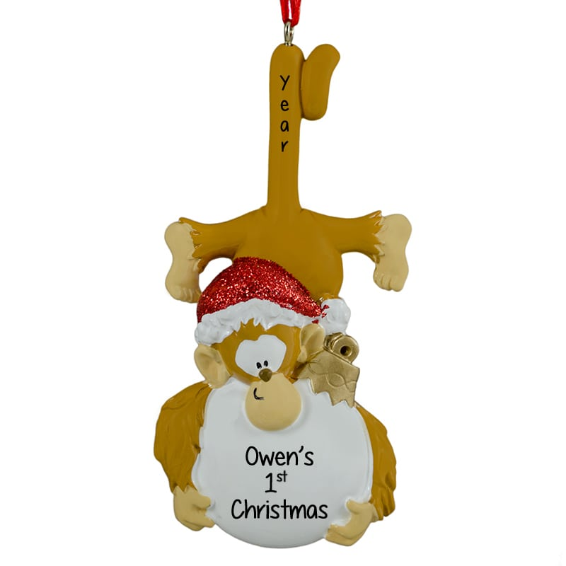 Babys First Christmas Monkey Hugging Ball Ornament