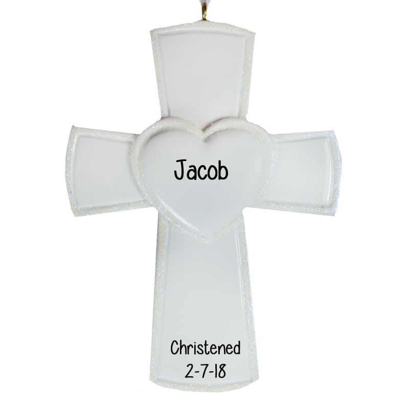 Personalized Baptism Cross Glass Ornament By Specialornaments: Christening WHITE Cross Glittered Heart Ornament