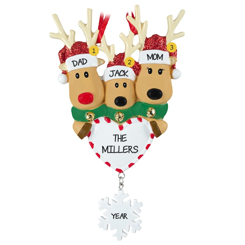 a52b79f401ef6 Deer Family Of 3 Around Heart Dangling Flake Ornament ...