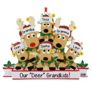 22a5534bef7f8 Personalized Grandparents + 4 Grandkids Reindeer Jingle Bells Ornament