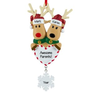 2cefded7bc239 Personalized Awesome Parents Reindeer Couple Dangling Flake Ornament