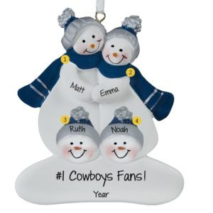 dallas cowboys family of 4 navy and silver ornament