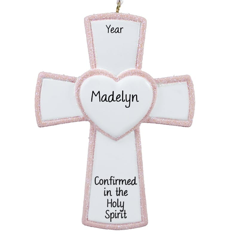 Cross Ornament For Girl Or Boy: Personalized Girl Confirmation PINK Cross Keepsake